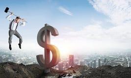 Conceitos do negócio global e do dinheiro Moeda de queda do dólar Foto de Stock