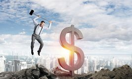 Conceitos do negócio global e do dinheiro Moeda de queda do dólar Imagem de Stock