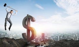 Conceitos do negócio global e do dinheiro Moeda de queda do dólar Fotografia de Stock Royalty Free