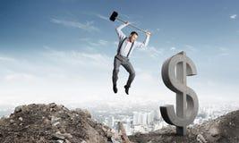 Conceitos do negócio global e do dinheiro Moeda de queda do dólar Fotografia de Stock