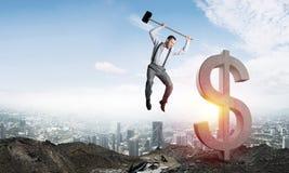 Conceitos do negócio global e do dinheiro Moeda de queda do dólar Imagens de Stock Royalty Free