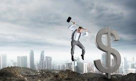 Conceitos do negócio global e do dinheiro Moeda de queda do dólar Foto de Stock Royalty Free