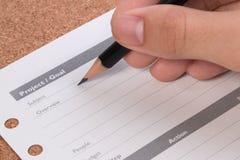 Conceitos do plano do projeto Formulário vazio da carta de planeamento empresarial Detalhes de carta vazia do plano do projeto pa Foto de Stock