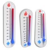 Conceitos do termômetro - levanta-se e a queda do temperat ilustração royalty free