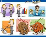 Conceitos dos desenhos animados dos homens de negócios ajustados Fotografia de Stock