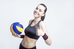 Conceitos e ideias do esporte Atleta fêmea profissional do voleibol Imagens de Stock