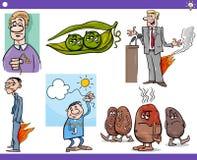 Conceitos e provérbios dos desenhos animados ajustados Imagens de Stock