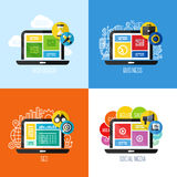 Conceitos lisos do vetor do design web, negócio, meio social, SEO ilustração stock