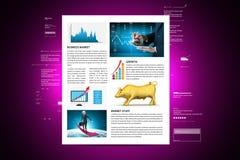 Conceitos para a notícia sobre o mercado conservada em estoque imagem de stock