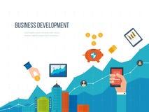 Conceitos para o desenvolvimento de negócios, os trabalhos de equipa, o relatório financeiro e a estratégia Foto de Stock