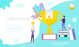 Conceitos para o vencedor, diploma, cursos de línguas ilustração stock