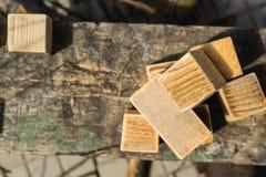 Conceitos rústicos, cubos de madeira caseiros Fotografia de Stock Royalty Free