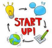 Conceitos Startup do negócio com símbolos relacionados Fotografia de Stock