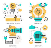 Conceitos Think fora da caixa, inovação ilustração stock