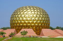 The Matrimandir, situated in the middle of the town, Auroville, Pondicherry, Tamil Nadu, India. Stock Photography