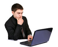 Conceived businessman with laptop Royalty Free Stock Image