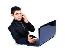Conceived businessman with laptop Stock Photo