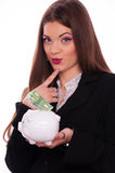 Conceived womanwith piggy bank Royalty Free Stock Photo