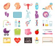 Conceiving child and pregnancy, prenatal childbearing birth, motherhood flat  icons Stock Image