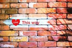Concent Backsteinmauer der abstrakten Liebe Stockbild