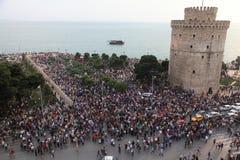 Concentración y protestas sobre la crisis imagen de archivo libre de regalías