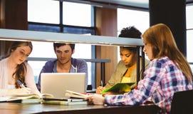 Concentrando os estudantes que trabalham junto na mesa usando o portátil Imagens de Stock