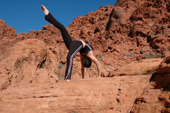 Concentrate. A girl doing yoga in Red Rock Canyon, Las Vegas Nevada Royalty Free Stock Photos