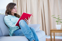 Concentrate brunette reading a book. At home in the living room Royalty Free Stock Images
