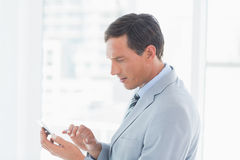 Concentrate businessman using tablet pc. In office Royalty Free Stock Image