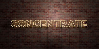 CONCENTRATE - fluorescent Neon tube Sign on brickwork - Front view - 3D rendered royalty free stock picture Stock Photo