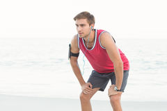 Concentrate handsome runner doing break Royalty Free Stock Photo