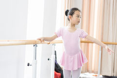 Concentrate on training-In the dance rehearsal room girl Stock Photos