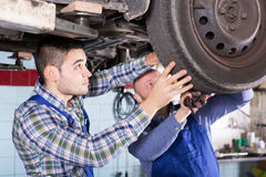 Concentrated adult mechanics repairing car Stock Image