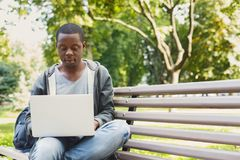 Concentrated man working on his laptop outdoors. Concentrated african-american man working on his laptop, sitting on bench in park. Technology, communication Stock Photography