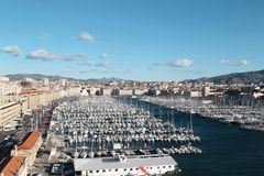 Concentrated boats in old-port old marseilles. 2017-12-16 Royalty Free Stock Photos