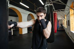 Concentrated boxer doing training with punchbag. Concentrated boxer doing training in gym with punchbag royalty free stock photo