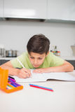 Concentrated boy doing homework in kitchen Stock Photos