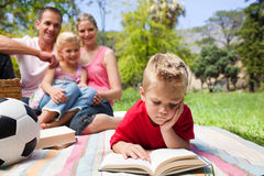 Concentrated boy reading while having a picnic stock photos
