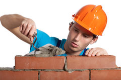 Concentrated bricklayer putting Stock Image