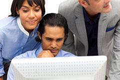 Concentrated Business partners working together Royalty Free Stock Photos