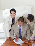 Concentrated business people working together Stock Photography