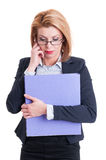 Concentrated business woman Royalty Free Stock Photography