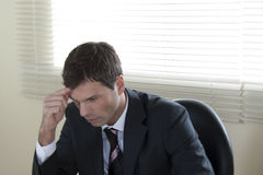 Concentrated Businessman. Working on laptop in his office Stock Photography