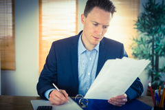Concentrated businessman reading a document Stock Photography
