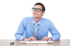 Concentrated businessman typing on the keyboard Stock Photos