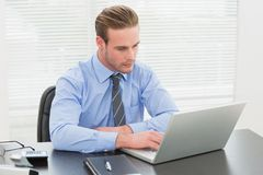 Concentrated businessman using his laptop Royalty Free Stock Photo