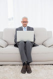 Concentrated businessman using laptop at home Stock Photo