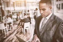 Concentrated businessman using laptop. While standing in office Royalty Free Stock Photography