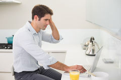 Concentrated casual man using laptop in kitchen Royalty Free Stock Image