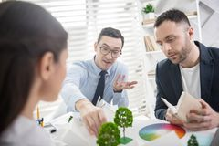 Concentrated co-workers discussing their project royalty free stock image